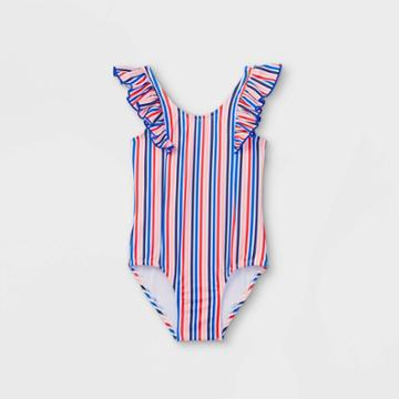 Toddler Girls' Striped Ruffle Sleeve One Piece Swimsuit - Cat & Jack Blue/coral/white