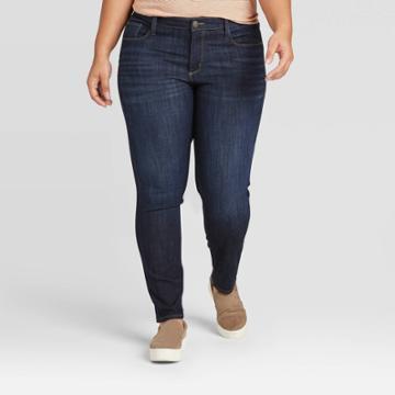 Women's Plus Size High-rise Skinny Jeans - Universal Thread Dark Wash 14w, Women's, Blue