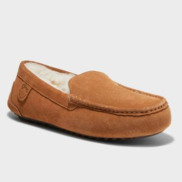 Men's Dluxe By Dearfoams Nelson Genuine Shearling Moccasin Slippers - Dark Chestnut
