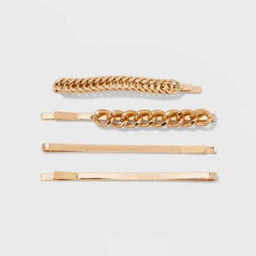 Metal And Chain Bobby Pin Set 4pc - A New Day Gold