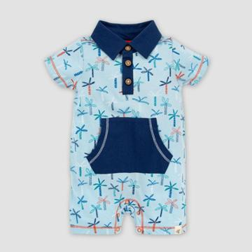Burt's Bees Baby Baby Boys' Organic Cotton Quirky Palms Polo Romper - Light Blue