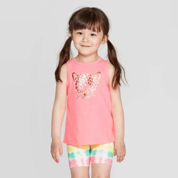 Toddler Girls' 'leopard' Graphic Tank Top - Cat & Jack Pink