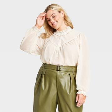 Women's Plus Size Balloon Long Sleeve Ruffle Blouse - Who What Wear Cream