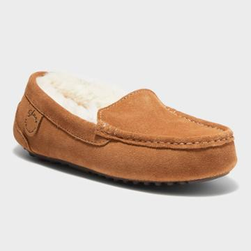 Women's Dluxe By Dearfoams Fernie Genuine Shearling Moccasin Slippers - Dark Chestnut