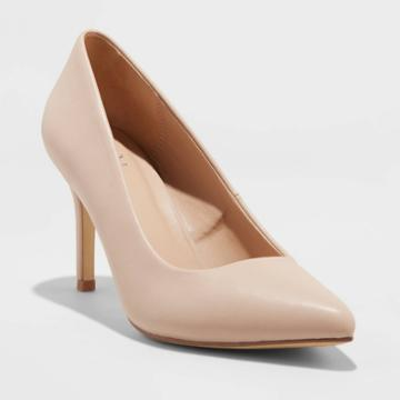 Women's Gemma Wide Width Faux Leather Pointed Toe Heeled Pumps - A New Day Tan 6w,