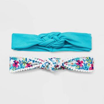 Girls' 2pk Floral Knot Headband - Cat & Jack Blue