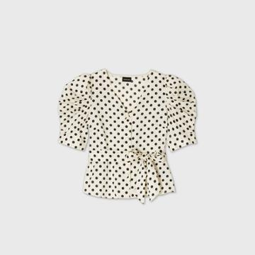 Women's Polka Dot Bishop Short Sleeve Blouse - Who What Wear Cream