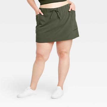 Women's Plus Size Move Stretch Woven Skorts 16 - All In Motion Olive Green 1x, Women's, Size: 1xl, Green Green