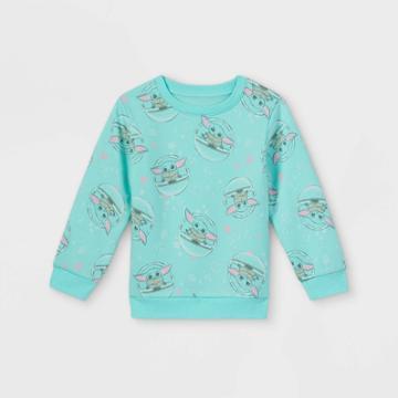Toddler Girls' Star Wars Baby Yoda Fleece Crew Neck Pullover -