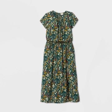 Women's Floral Print Short Sleeve Cinched Waist Dress - A New Day Green