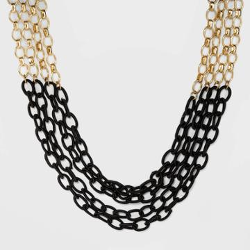 Mixed Chain And Threaded Link Layer Frontal Necklace - A New Day Black, Women's