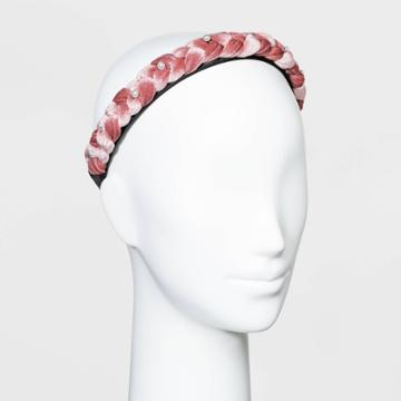 Braided Velvet Braided With Scatter Pearls Headband - Wild Fable Blush, Pink