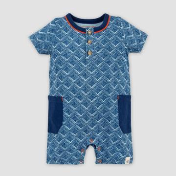 Burt's Bees Baby Baby Boys' Organic Cotton Through The Maze Henley Romper - Blue