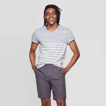 Men's Striped Standard Fit Short Sleeve T-shirt - Goodfellow & Co Gray