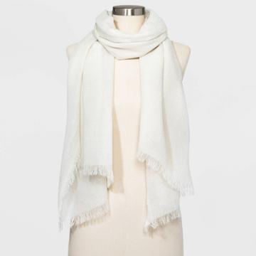 Women's Oblong Wrap Lurex Scarf - A New Day Beige One Size, Women's, Brown