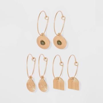 Geometric Semi-precious With Labradorite Charm Hoop Earring Set 3pc - Universal Thread Worn Gold