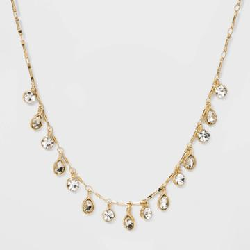 Crystal Clear Acrylic Stones Necklace - Wild Fable White Crystal, Women's, Gold