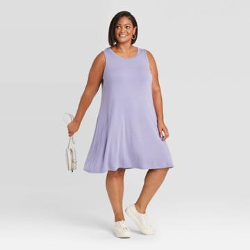 Women's Plus Size Sleeveless Swing Dress - Ava & Viv Violet X, Purple