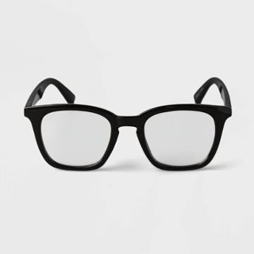 Men's Vintage Square Blue Light Filtering Glasses - Goodfellow & Co Black