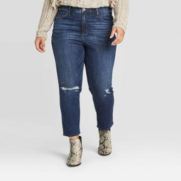 Women's Plus Size High-rise Distressed Straight Cropped Jeans - Universal Thread Dark Wash 14w, Women's, Blue