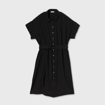 Women's Plus Size Short Sleeve Shirtdress - Prologue Black 1x, Women's,
