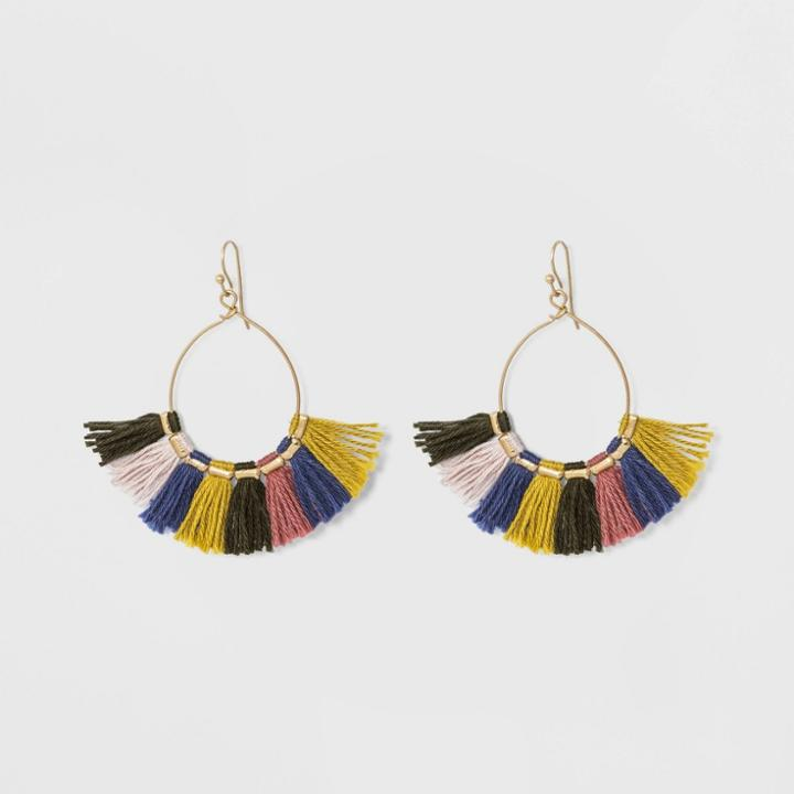 Drop Open Wire Teardrop With Tassel Earrings - Universal Thread,