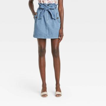 Women's Mini Jean Skirt - Who What Wear Blue