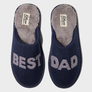 Men's Dluxe By Dearfoams Best Dad Slippers - Navy S, Men's, Size: Small, Blue Gray