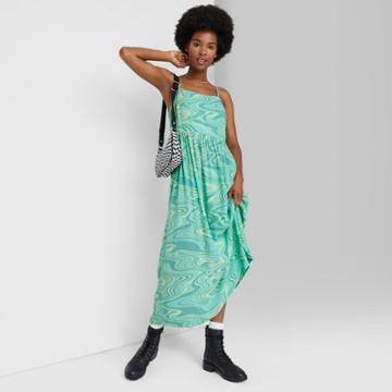Women's Sleeveless Airy Woven Dress - Wild Fable Teal Marble Print Xs, Blue