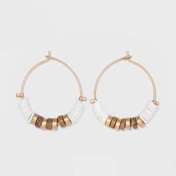 Semi-precious Jasper And Flat Disc Wire Hoop Earrings - Universal Thread Natural, Women's