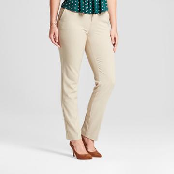 Women's Straight Leg Curvy Bi-stretch Twill Pants - A New Day Khaki (green) 4l,