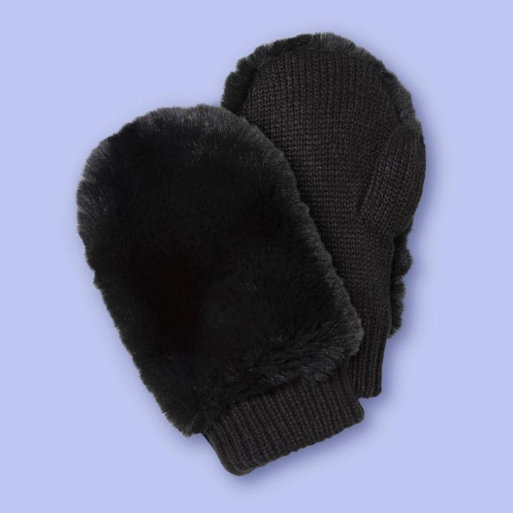 Girls' Faux Fur Mitten - More Than Magic Black, Girl's