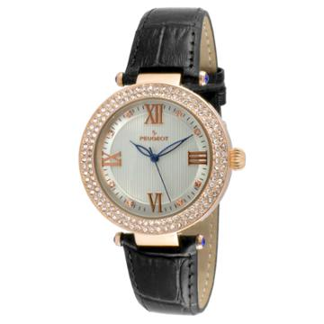 Peugeot Watches Women's Peugeot Crystal Accented T-bar Leather Strap Watch - Rose/black, Rose Copper