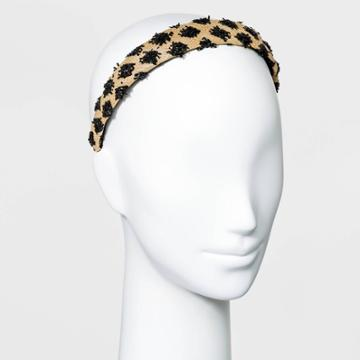 Raffia With Fringe Detail Headband - A New Day Black