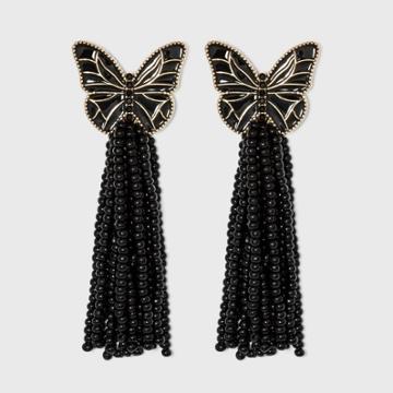 Sugarfix By Baublebar Butterfly Tassel Drop Earrings - Black