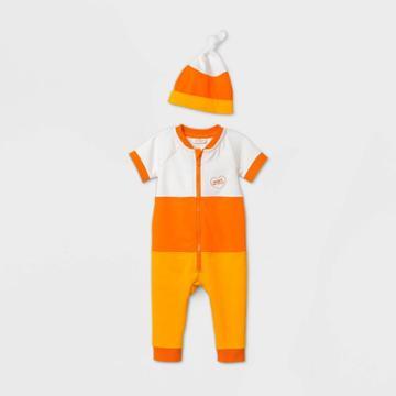 Baby Candy Corn Short Sleeve Romper Set With Hat - Cat & Jack Orange Newborn
