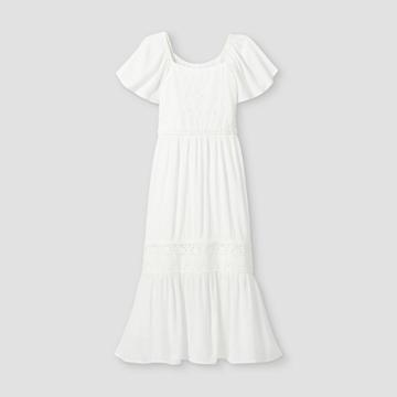 Girls' Eyelet Maxi Short Sleeve Dress - Art Class White