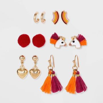 Girls' 6pk Unicorn Rainbow Earring Set - Cat & Jack