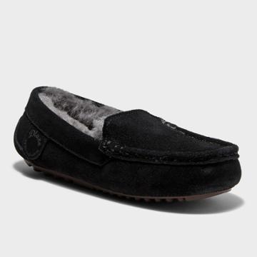 Kids' Dluxe By Dearfoams Jasper Genuine Shearling Moccasin Slippers - Black