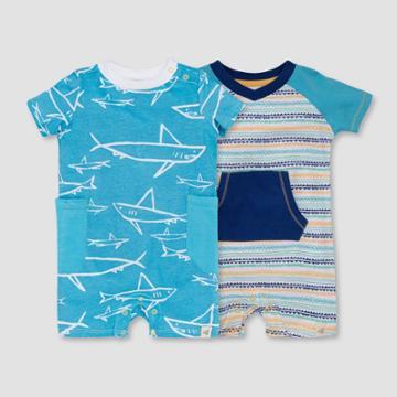 Burt's Bees Baby Boys' 2pk Shiver Of Sharks Romper