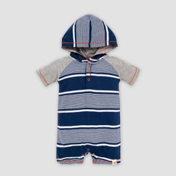 Burt's Bees Baby Baby Boys' Organic Cotton Bold Variegated Stripe Hooded Romper - Dark Blue 0-3m, Boy's, Red Gray Blue