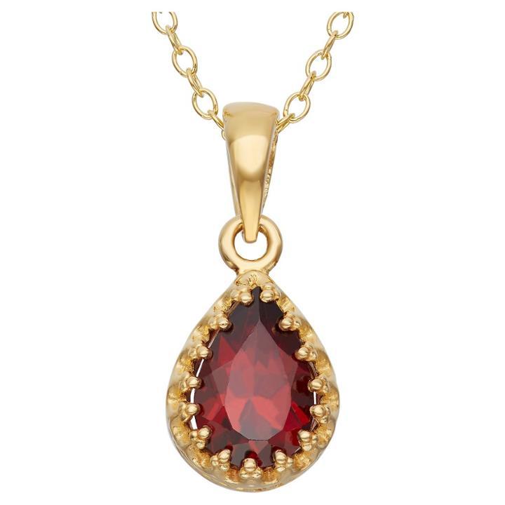 Tiara Pear-cut Garnet Crown Pendant In Gold Over Silver, Girl's, Garnet/yellow