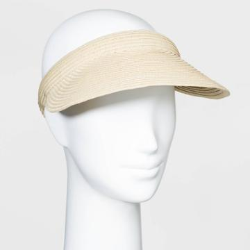 Women's Straw Visor Hats - A New Day Natural One Size, Women's, Yellow