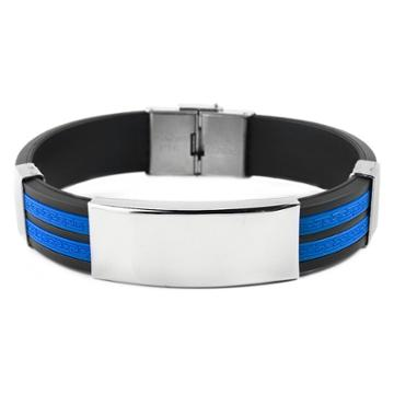 Men's West Coast Jewelry Stainless Steel Id Blue And Black Tribal Design Rubber Bracelet, Blue Black