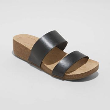 Women's Kerryl Two Band Wedge Sandals - Universal Thread Black