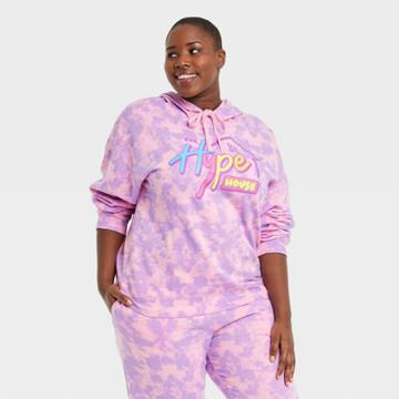 Modern Lux Women's Plus Size Hype House Hooded Graphic Sweatshirt - Pink
