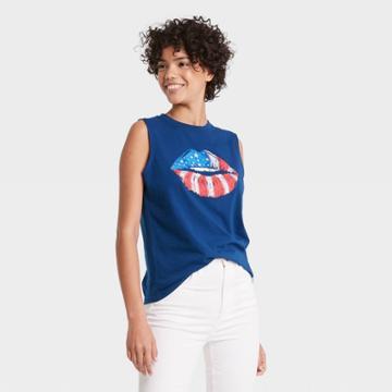 Fifth Sun Women's Plus Size Americana Lips Graphic Tank Top - Blue