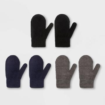 Toddler Boys' 3pk Magic Mitten - Cat & Jack Gray/black/navy 2t-5t, Black/gray/blue