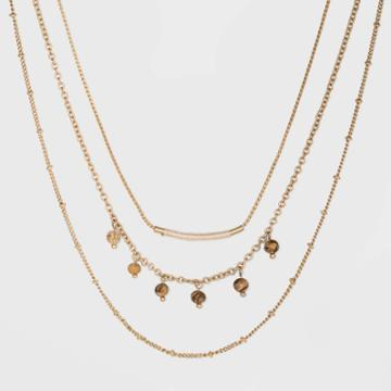 Semi-precious Jasper With Three Layer Beaded Necklace - Universal Thread Natural, Women's