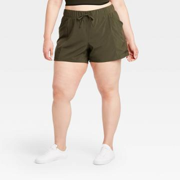 Women's Plus Size Move Stretch Woven Shorts 4 - All In Motion Olive Green 1x, Women's, Size: 1xl, Green Green